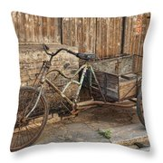 Antique Bicycle In The Town Of Daxu Throw Pillow