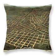 Antique Bird's-eye View Map Of Atlanta 1871 Throw Pillow