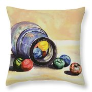 Antique Bottle With Marbles Throw Pillow