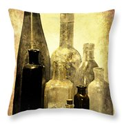 Antique Bottles From The Past Throw Pillow
