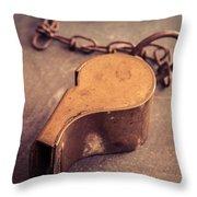 Antique Brass Military Whistle Throw Pillow