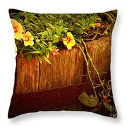 Antique Bucket With Yellow Flowers Throw Pillow