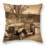Antique Car At Service Station In Sepia Throw Pillow