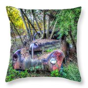 Antique Car With Trees In Windshield Throw Pillow