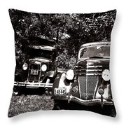 Antique Cars Black And White Throw Pillow