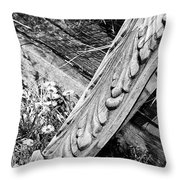Antique Carved Wood Facade Piece Throw Pillow