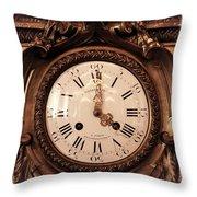 Antique Clock In Sepia Throw Pillow