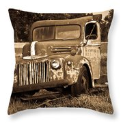 Antique Cut Bed Truck In Sepia Throw Pillow