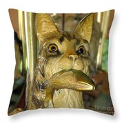 Antique Dentzel Menagerie Carousel Cat With Fish In Rochester New York Throw Pillow