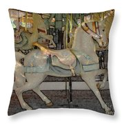 Antique Dentzel Menagerie Carousel Horse Colored Pencil Effect Throw Pillow