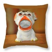 Antique Dog Ashtray Throw Pillow
