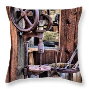 Antique Drill Press Throw Pillow