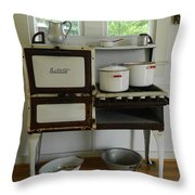 Antique Estate Stove With Cookware Throw Pillow