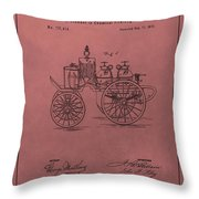 Antique Fire Engine Patent On Red Throw Pillow