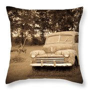 Antique Ford Car Sepia 2 Throw Pillow