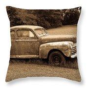 Antique Ford Car Sepia 4 Throw Pillow