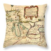 Antique French Map Of The Great Lakes 1755 Throw Pillow
