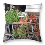 Antique Goat Cart Throw Pillow