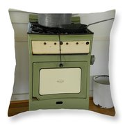 Antique Green Stove And Pressure Cooker Throw Pillow