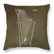 Antique Harp Patent Throw Pillow