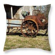 Antique Hay Bailer 1 Throw Pillow by Douglas Barnett