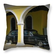 Antique Hearse In Havana Cemetary Throw Pillow