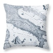 Antique Italy Map 1573 Throw Pillow