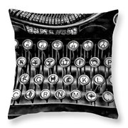 Antique Keyboard - Bw Throw Pillow