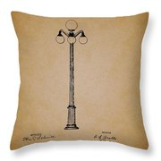 Antique Lamp Post Patent Throw Pillow