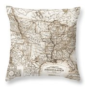 Antique Map 1853 United States Of America Throw Pillow