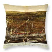 Antique Map Of Brooklyn Throw Pillow