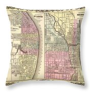 Antique Map Of Chicago And St Louis 1855 Throw Pillow