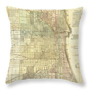Antique Map Of Chicago Throw Pillow