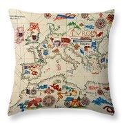 Antique Map Of Europa 1563 Throw Pillow