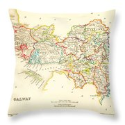 Antique Map Of Galway Ireland Throw Pillow