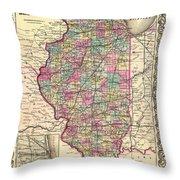 Antique Map Of Illinois 1855 Throw Pillow