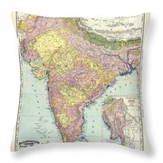 Antique Map Of India - Further India Throw Pillow