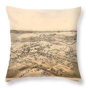 Antique Map Of New Braunfels Texas 1881 Throw Pillow