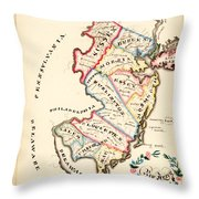 Antique Map Of New Jersey Throw Pillow