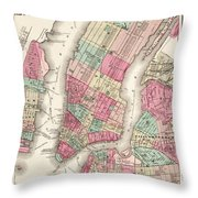 Antique Map Of New York City Throw Pillow