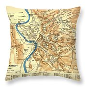 Antique Map Of Rome During Antiquity 1870 Throw Pillow