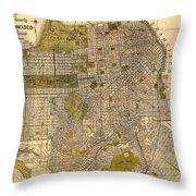 Antique Map Of San Francisco 1932 Throw Pillow