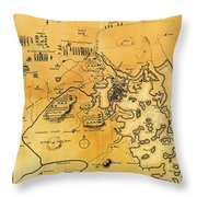Antique Map Of The Battles Of Lexington And Concord 1775 Throw Pillow