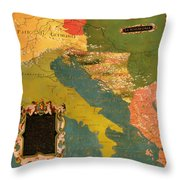 Antique Map Of The Dalmatian Shore 1578 Throw Pillow