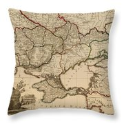 Antique Map Of The Russian Empire In Russian 1800 Throw Pillow