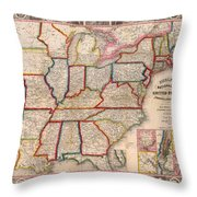 Antique Map Of The United States 1848 Throw Pillow