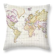 Antique Map Of The World Throw Pillow by James The Elder Wyld