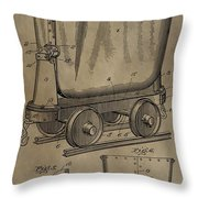Antique Mining Trolley Patent Throw Pillow