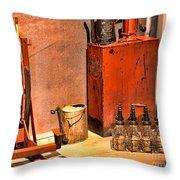 Antique Oil Bottles Throw Pillow