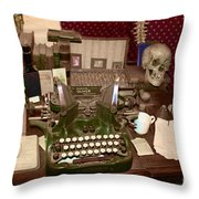 Antique Oliver Typewriter On Old West Physician Desk Throw Pillow